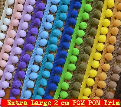 Jumbo POM POM Trim Extra Large pompoms 2 cm, total width 35mm various colours