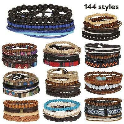 Mens Boys Wide Multi Row Layer Stack Leather Wristband Bracelet Wrap Stacker