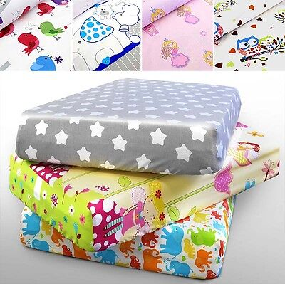 BABY COT SHEET COTBED PRINTED 100% COTTON  160x80 140x70 120x60 90x40 NURSERY