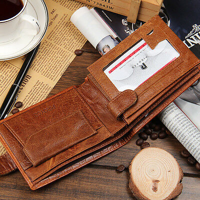 Crocodile Embossed Men's Leather Bifold Card Holder Coin Pocket Wallet Billfold
