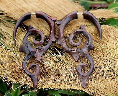 Organic Hand Carved Fake Gauges Wood Earrings Natural bat wing tribal style