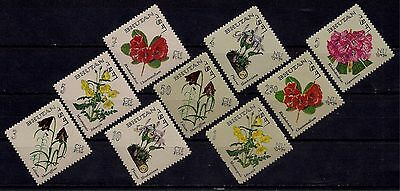 Bhutan 1967 Native Flowers Rhododendron Orchids Lilium Poppy Plants Nature 9v NH