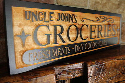 Vintage Country Style Grocery Dry Goods Sign Personalized Custom Carved Wooden
