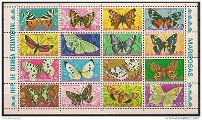 Equatorial Guinea 1975 Butterflies Insects Nature Butterfly 16v sheet MNH