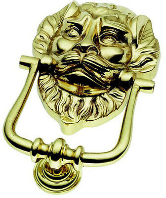 Large Solid Polished Brass Lion Head Door Knocker (PB29)