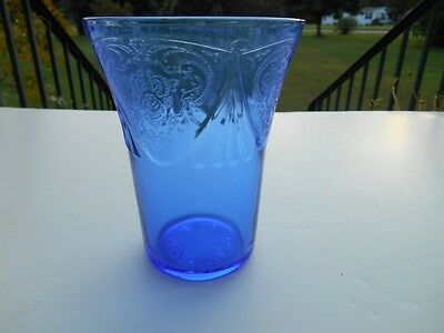 "Vintage Royal Lace Cobalt Blue 4 1/8"" 9 Oz Tumbler Depression Glass, Hazel Atlas"