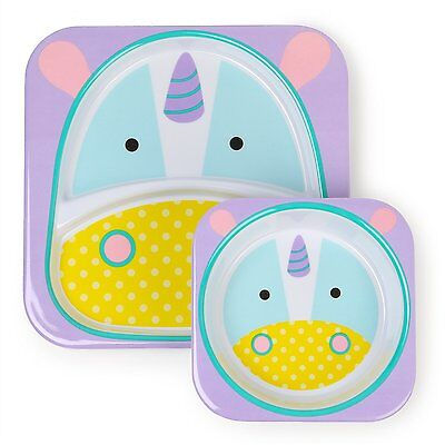 Skip Hop Zoo Melamine Plate and Bowl Set UNICORN Feeding Set Dishwasher Safe NEW