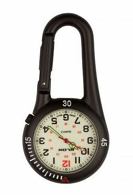 Black Clip on Carabiner FOB Watch White Face for Doctors Nurses Paramedics Chefs