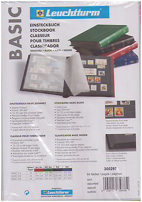 Lighthouse Stockbook Basic Stamp Album 64 Black Pages (S64) - BLACK