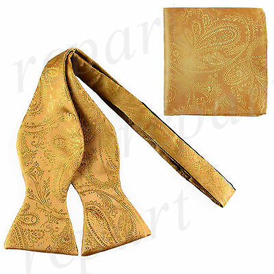 New Men's 100% Polyester Paisley Formal Self-tied Bow Tie & hankie set Gold