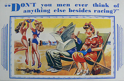 POSTCARD-COMIC-RACING-DON'T MEN EVER THINK OF ANYTHING BESIDES RACING? 1920's