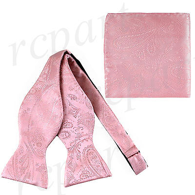 New Men's 100% Polyester Paisley Formal Self-tied Bow Tie & hankie set Pink