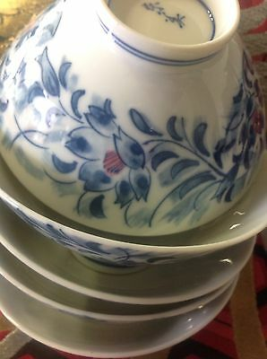 Vintage Japanese (Chawan) Rice Bowl Blue Floral set of 5pcs