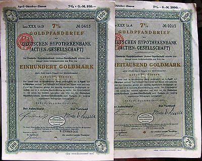 German 7% Gold Mortgage Loan, 10/1926. Lot of 4 different