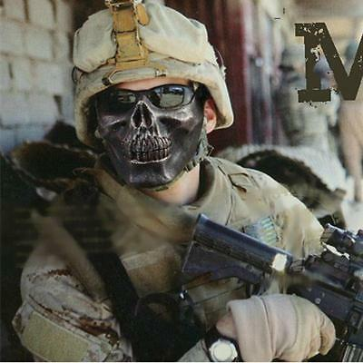 Army Skull Skeleton Airsoft Paintball Game Half Face Mask Protect Black