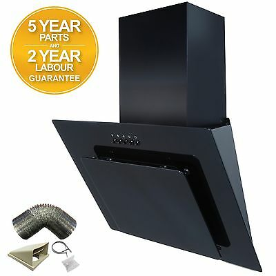SIA 70cm Black Angled Glass Chimney Cooker Hood Extractor Fan + 1m Ducting