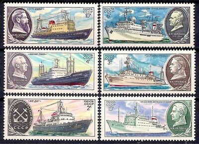 Russia 1980 Scientific Research Ships Boat​s Sailing Nautical​ Transport 6v MNH