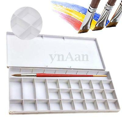 25 Well Watercolor Oil Case Box Acrylic Art Paint Mixing Palette Draw Tray Cover