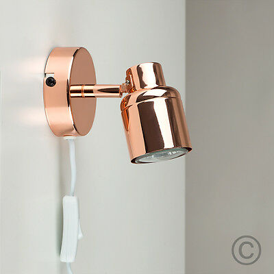 Contemporary Copper Adjustable Single Wall Light Plug in Spotlight Lamp Lighting