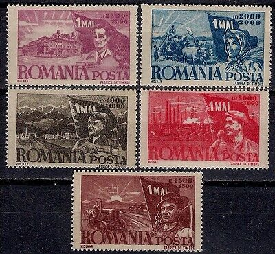Romania 1947 Labour day Workers Industry Farming Microscope Tractor Ox cart MNH