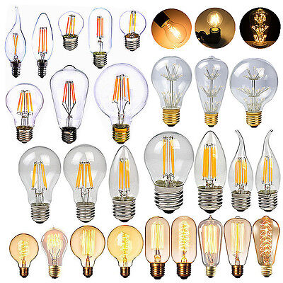 Dimmable E27 E14 2/4/6/8/W LED Retro Edison Filament Light Lamp Glass Bulb 240V