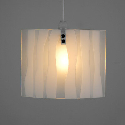 Frosted Glass Zebra Print Stripe Curved / Oval Ceiling Pendant Light Lamp Shade