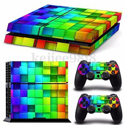 3D Lattice Vinyl Decal Sticker Skin For PS4 Playstation 4 Console +2 Controllers