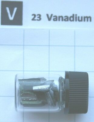 3 gram 99.8% Vanadium metal in glass vial element 23 sample