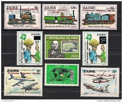 Zaire 1980 Independence IYC Children Trains Plane Helicopter R-Hill S-on-S MNH