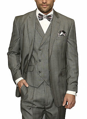 Mens Classic Fit Gray Plaid Three Piece Two Button Wool Suit