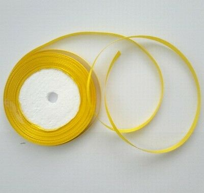 "5 Yards 6mm Deep Yellow Satin Ribbon Craft Embroidery Scrapbook 1/4 "" 4.6 Metres"