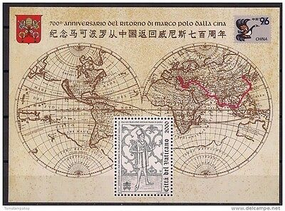 Vatican 1996 Return of Marco Polo from China Map Explorer Emblem Birds m/s MNH