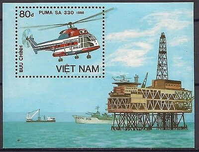 Vietnam 1989 Helicopter Aviation Transport Oil Rig/Commerce Oil Field Ship MNH