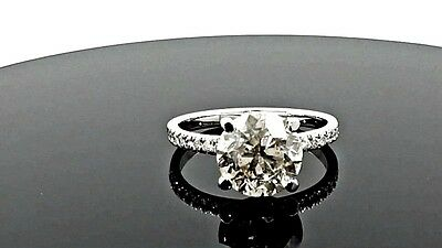 3.68 Ct  G/si2 Round Diamond Solitaire Engagement  Ring 14 K White Gold *