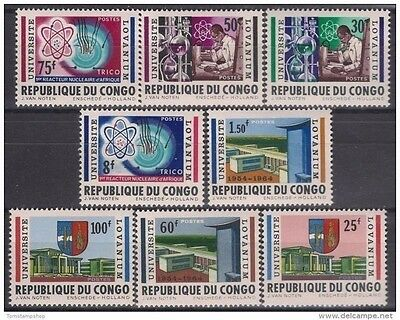 Congo 1964 University Education Science Chemistry Atomic Nuclear Research 8v MNH