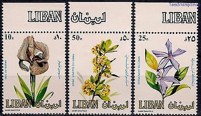 Lebanon 1984 Flowers Iris Barberry/Red Berry/Fruits Rosy periwinkle Plants MNH