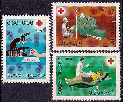 Finland 1972 Red Cross Medical Health Blood Donor Nurse Surgery Microscope 3v NH