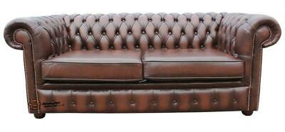 Chesterfield London English 2.5 Seater Antique Brown Leather Sofa Settee