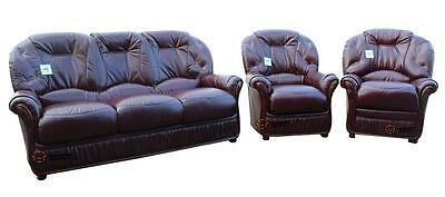 Debora 3 Seater+Chair+Chair Italian Leather Three Piece Sofa Suite Burgandy