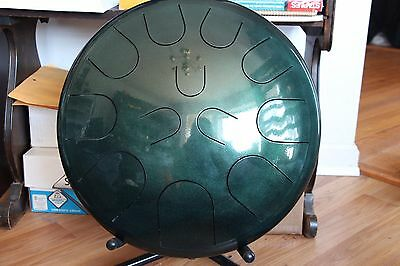 """Ajna 16"""" 12 Tone Green Shimmer Steel Tongue Drum + Case C Lydian Scale USA Made"""