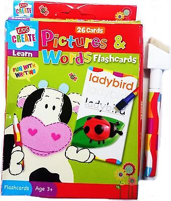 26 Flash Card Wipe Clean Pictures Words Eraser Pen Educational Fun Learning Kids