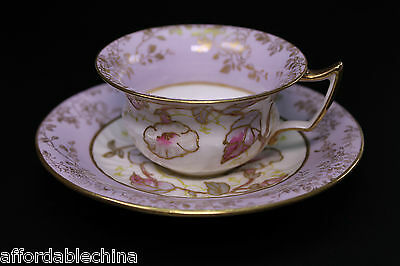 Early Gorgeous Wedgwood Hand Painted Morning Glory Porcelain Cup and Saucer