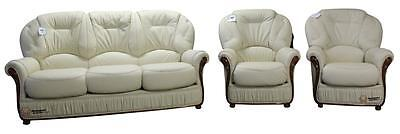 Debora 3 Seater+Chair+Chair Italian Leather Three Piece Sofa Suite Cream