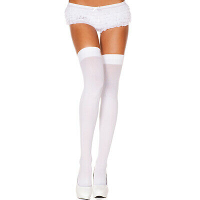 Opaque Thigh Hi Lingerie Stockings White One Size Regular ML4745