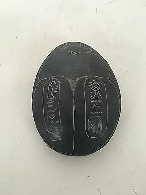 Vintage Scarab Egyptian Paperweight Beetle Hieroglyphics Carving Cobra Resin