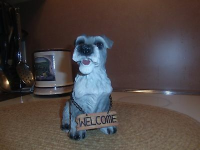 schnauzer resin dog figurine with welcome sign
