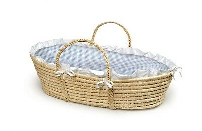 Company Natural Baby Moses Basket - Blue Gingham Bedding