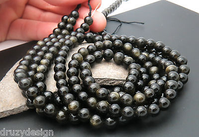 71 WICKED AWESOME 5.5-6.4mm ROUND GOLDEN CATS EYE BLACK OBSIDIAN BEADS