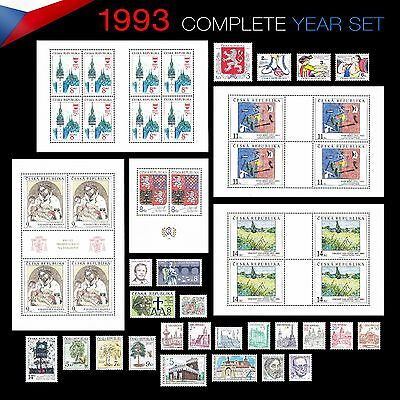 Czech Republic 1993 -- COMPLETE YEAR SET -- 24 stamps and 5 minisheets - **MNH