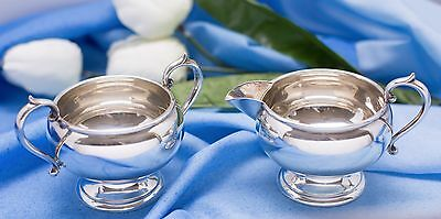 """Sweet Cream"" FB Rogers Silver Co Sterling Sugar Bowl and Creamer"